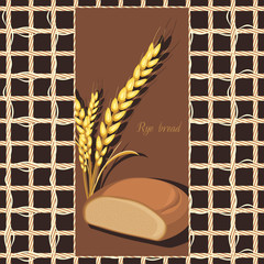 Rye bread and wheat ears on the abstract background. Label