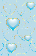 Seamless blue background with hearts for wrapping