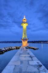 Lighthouse at the Paquis, Geneva, Switzerland, HDR