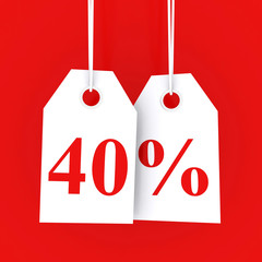 40 percent off - hanging labels on red background