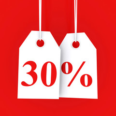 30 percent off - hanging labels on red background