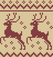 Knitting christmas seamless pattern with a deer