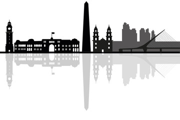 Buenos Aires city skyline silhouette. vector illustration