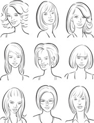 whiteboard drawing - beautiful women faces collection