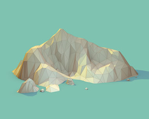Geometric 3d Mountain Scene (Series)