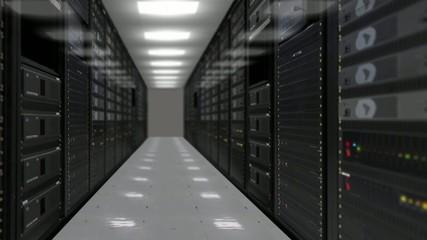 Animation of rack servers in data center