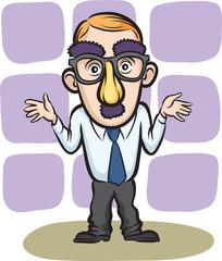 Businessman apologizing wearing a mask