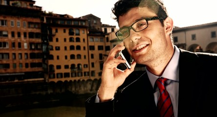 Young Businessman Travel Europe Talking Cellphone Smart Phone
