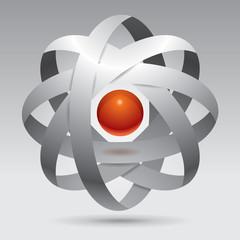 Vector object, unreal form, design, 3d, molecule, red