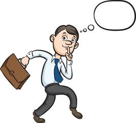 Cartoon sneaking businessman finger on lips