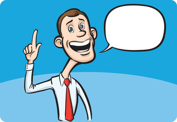 Cartoon skinny businessman with speech bubble pointing finger