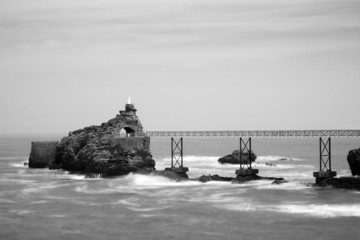 The Virgin rock in Biarritz, France in black and white