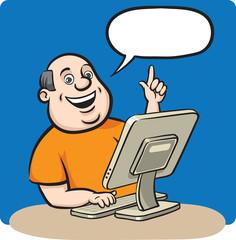 Cartoon fat man with desktop computer
