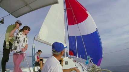 Sailors on deck, team, crew, yachting, sailing, active rest