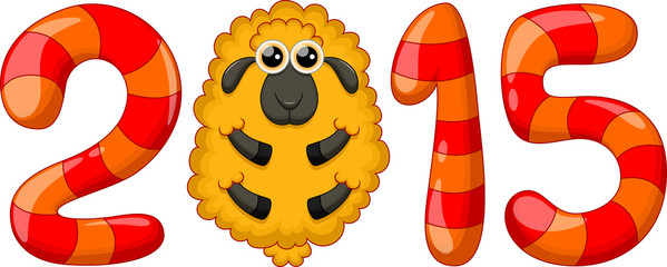 Cute sheep cartoon and 2015 figures