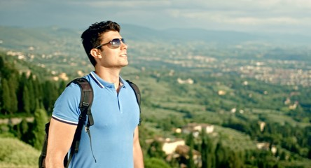 Ecology Tourism Young Man Backpacking Countryside