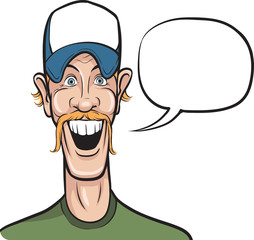 cartoon smiling man in baseball cap with speech bubble