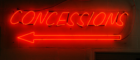 Neon Red Concessions Sign