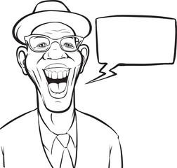 whiteboard drawing - cartoon laughing black man in hat