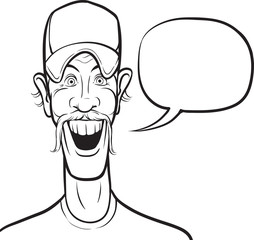 whiteboard drawing - cartoon smiling man in baseball cap with sp