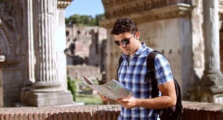 Young Tourist Lost Rome Map Looking Directions Vacation