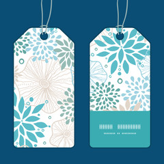 Vector blue and gray plants vertical stripe frame pattern tags
