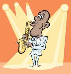 Cartoon saxophone player