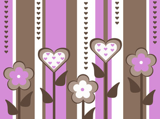 pink brown flower heart valentines striped background