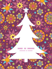 Vector colorful stars Christmas tree silhouette pattern frame