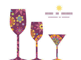 Vector colorful stars three wine glasses silhouettes pattern