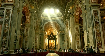 ROME - CIRCA 2014: Catholic San Pietro Cathedral Interior View