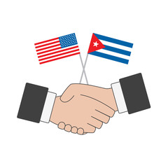 USA & Cuba Agreement Handshake