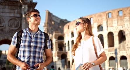 Young Tourist Couple Taking Pictures Selfie Smartphone Rome