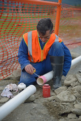 laying new pipe