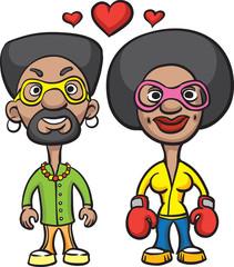 Cartoon avatar love couple black man and black woman