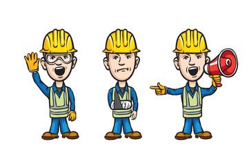 three cartoon workers with waving injured speaking