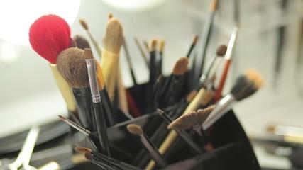 Brush set for make-up on table