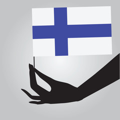 Hand with Finland flag