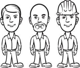 whiteboard drawing - three cartoon workers