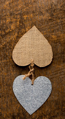 Two Hearts on Rustic Wood