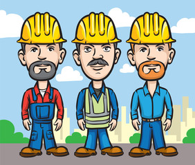 Three cartoon workers in hardhats