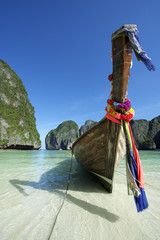 Traditional Thai Wooden Longtail Boat