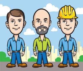 Three cartoon workers