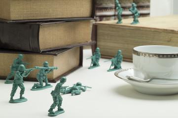 Battle of miniature warriors
