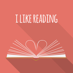 icon concept. I like reading. Open book pages as heart.
