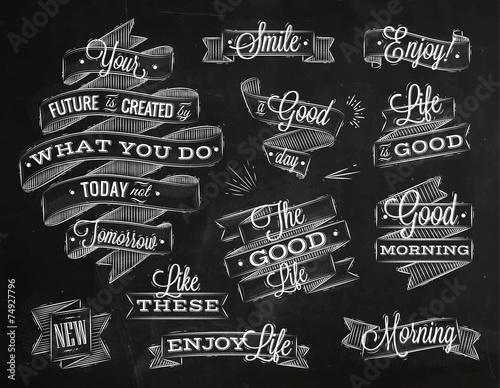 Ribbons lettering chalk - 74927796