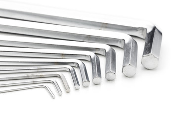 hex wrench set on white background
