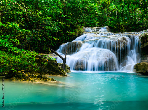 Waterfall at Erawan National Park, Kanchana buri, Thailand - 74928195
