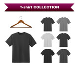 Fototapety Black T-shirt template collection with hanger