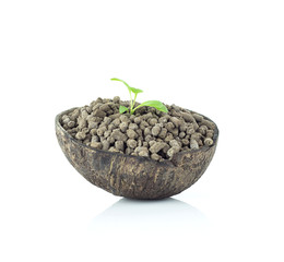 Natural fertilizer in coconut shell on white